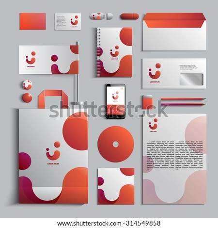 Corporate identity template in red colors. Vector company style for brandbook and guideline. EPS 10 - stock vector