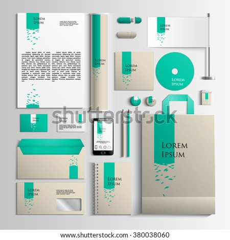 Corporate identity template in turquoise and beige colors with an illustration with leaves. Vector company style for brandbook and guideline. EPS 10 - stock vector