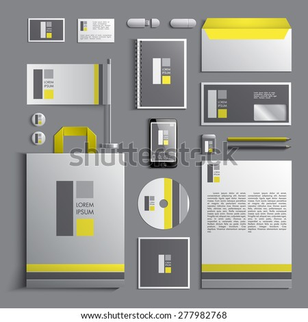 Corporate identity template in yellow and grey colors with rectangle elements. Vector company style for brandbook and guideline. EPS 10 - stock vector