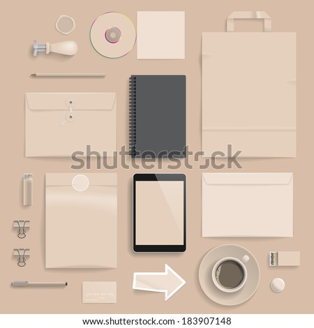 """Corporate identity template on brown background. Use layer """"Print"""" in vector file to recolor objects. Eps-10 with transparency. - stock vector"""