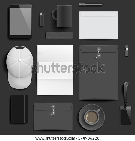 """Corporate identity template on dark background. Use layer """"Print"""" in vector file to recolor objects. Eps-10 with transparency. - stock vector"""