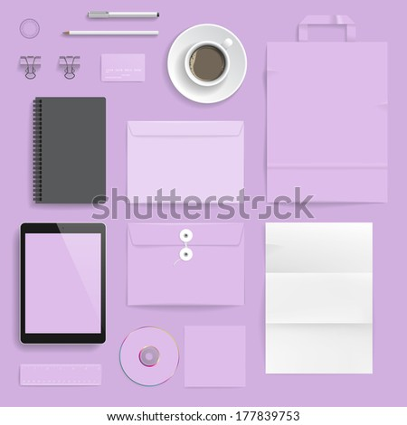 "Corporate identity template on light purple background. Use layer ""Print"" in vector file to recolor objects. Eps-10 with transparency."