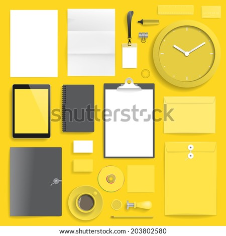 """Corporate identity template on yellow background. Use layer """"Print"""" in vector file to recolor objects. Eps-10 with transparency. - stock vector"""