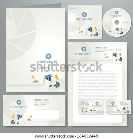 corporate identity template photography element photo camera professional icons - stock vector