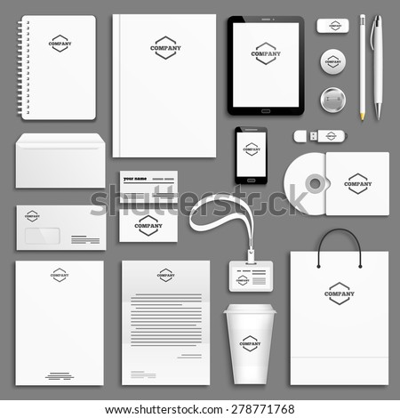 Corporate identity template set. Business stationery mock-up with logo. Branding design. Letter envelope, card, catalog, pen, pencil, badge, paper cup, notebook, tablet pc, mobile phone, letterhead - stock vector