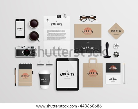 Corporate Identity Template Set Logo Sample Stock Vector