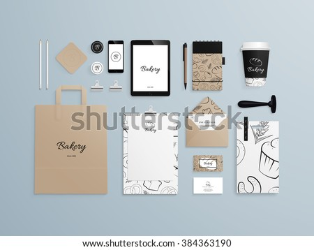 Corporate identity template set with pattern of baked goods. Business stationery mock-up with logo sample. Set of paper bag, menu, cards, phone, cup etc. Vector illustration. - stock vector