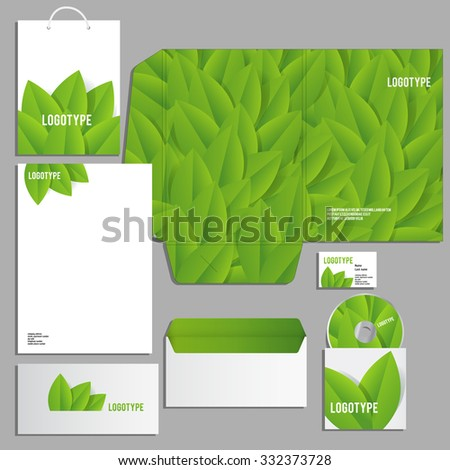 Corporate identity template. Vector company style for brandbook and guideline. ECO style  and green colors.