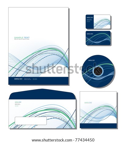 Corporate Identity Template Vector - letterhead, business and gift cards, cd, cd cover, envelope. Eps10. - stock vector