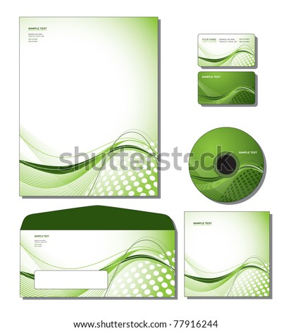 Corporate Identity Template Vector - letterhead, business and gift cards, cd, cd cover, envelope. Eps10 Format. - stock vector