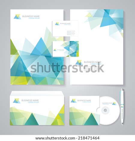 Corporate identity template with blue and green geometric elements. Documentation for business. - stock vector