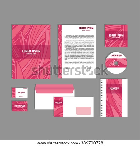 Corporate identity template with hand drawn pink exotic tropical leaf pattern, creative stationery branding mock-up set of separated, movable objects. EPS 10.