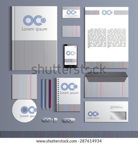 Corporate identity template with stripes grey blue and pink color elements. Vector company style for brandbook and guideline. EPS 10 - stock vector