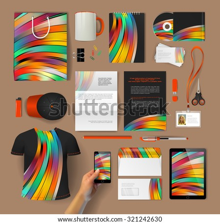 Corporate identity templates: blank, business cards, disk, envelope, smartphone, pen, badge, cup, brand-book, tablet PC, badges, T-shirt, cap, envelope, letter form, scissors, lighter, USB flash drive - stock vector