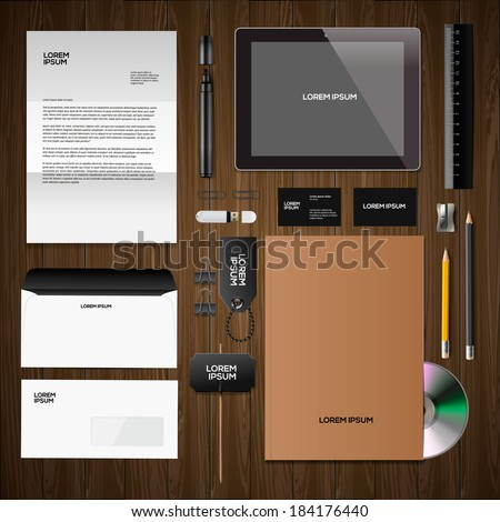 Corporate identity templates:blank, business cards, disk, notepad, pen, envelope, badge, stationery, brand-book, portable console, tablet pc. Vector illustration.  - stock vector