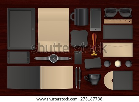 Corporate identity templates. Corporate identity templates:blank, business cards, disk, envelope, smart phone, pen, badge, cup, brand-book, tablet pc, watch, sunglasses, badges. - stock vector