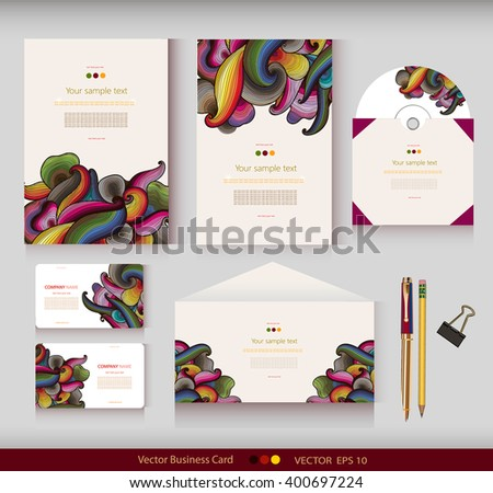 Corporate Identity. Vector templates. Abstract hand-drawn colorful waves background. Envelope, cards, business cards, tags, disc with packaging, pencils, clamp. With place for your text