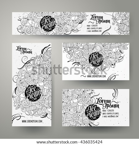 Corporate Identity vector templates set design with doodles hand drawn ice cream theme. Line art banner, id cards, flayer design. Templates set - stock vector
