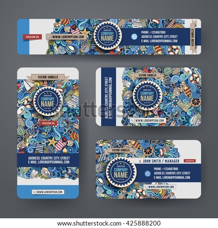 Corporate Identity vector templates set design with doodles hand drawn maritime theme. Colorful banner, id cards, flayer design. Templates set - stock vector