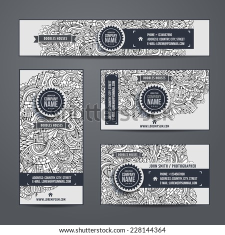 Corporate Identity vector templates set with doodles cartoon city theme - stock vector