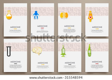 Corporate identity vector templates set with doodles medicine theme. Target marketing concept - stock vector