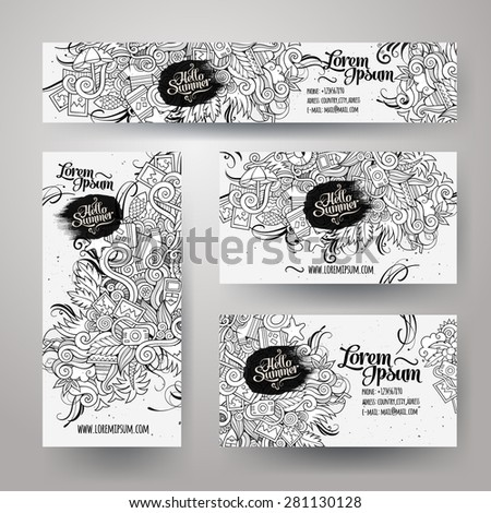 Corporate Identity vector templates set with doodles sketchy summer theme - stock vector