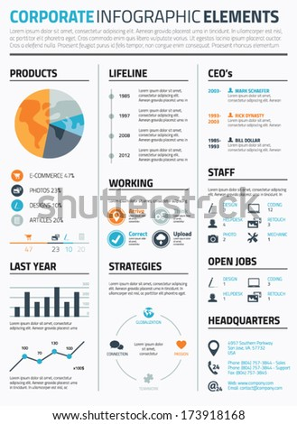 Corporate infographic elements template vector - stock vector