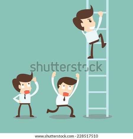 Corporate ladders - Businessman climbing the ladder - stock vector