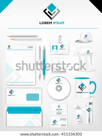 Corporate light blue identity template realistic stock vector corporate light blue identity template realistic cup business card letterhead envelope reheart Choice Image