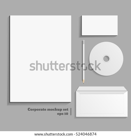 Corporate mockup set of printing materials template for branding identity eps 10 illustration.