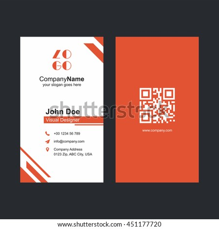 Corporate orange business card design barcode stock vector 451177720 corporate orange business card design with barcode colourmoves