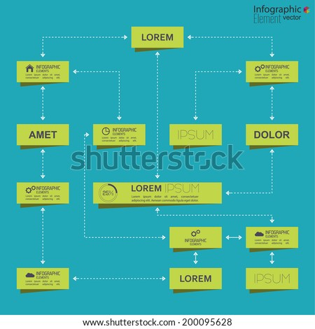 Corporate organization chart template with rectangle elements. flat design - stock vector