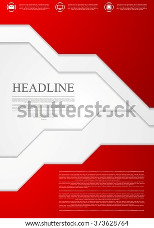 Corporate red material tech flyer design template. Vector brochure background - stock vector