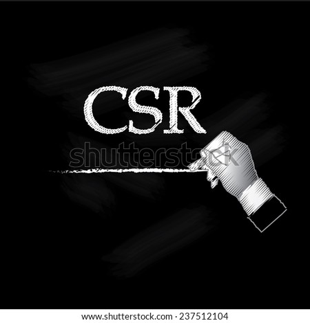 Corporate social responsibility (CSR) concept on chalkboard, hand writing CSR on chalkboard vector - stock vector
