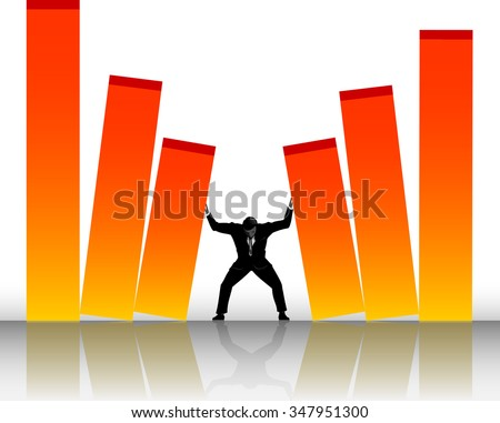 Corporate Struggle-Abstract concept of a man pushing against large unstable graphs - stock vector