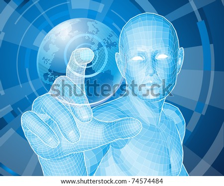 Corporate style background concept. Futuristic blue figure selecting a floating world globe. - stock vector