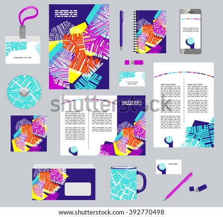 Corporate style business templates. Set of modern abstract graphic design. Seamless pattern included in EPS