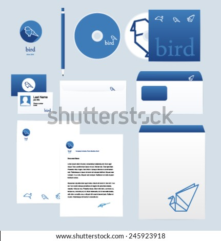 Corporate style design template. Vector. Editable. Animals, Birds. - stock vector