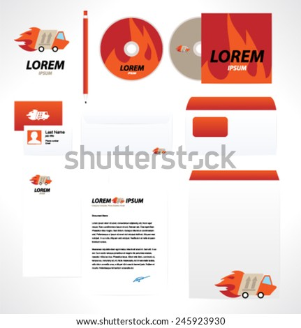 Corporate style design template. Vector. Editable. Transportation. - stock vector