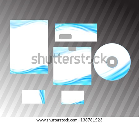 Corporate style idea - blue abstract wave. Vector illustration