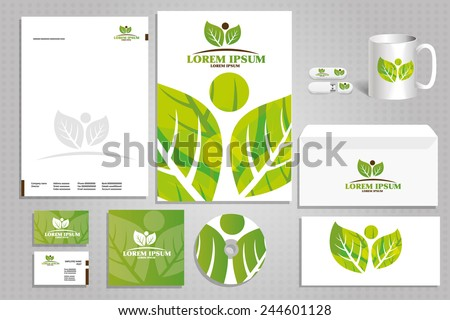 corporate style with eco-friendly logo for Nature Protection, the concept of the idea of the natural creative company - stock vector