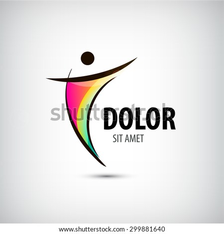 Corporate Success & Health & Winner logo template. Business concept. Human abstract. Vector line colorful icon. - stock vector