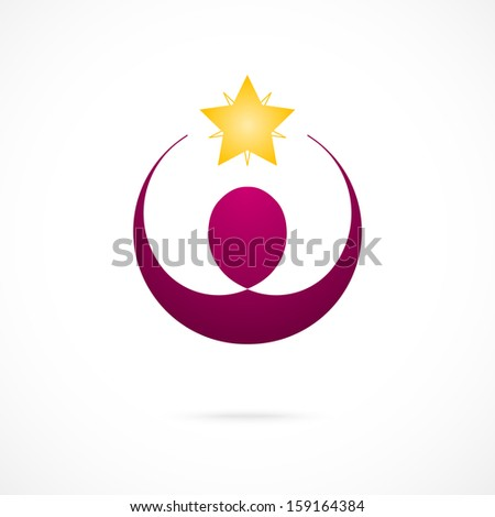 Corporate Success; Winner logo template. Business concept. Human abstract. Vector icon. - stock vector