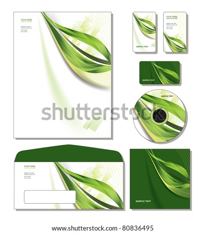 Corporate Template Vector - letterhead, business and gift cards, cd, cd cover, envelope. - stock vector