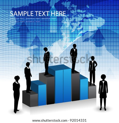 corporate template with sillhouttes - stock vector