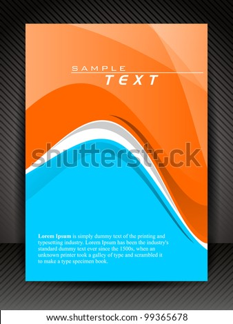 Corporate transparent flyer, banner or cover design with waves on line texture background in orange and blue color. EPS10, Vector Illustration. - stock vector