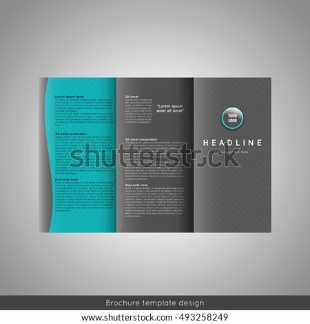 Corporate Trifold Brochure Template Design Triangles Stock Vector