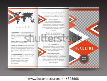 Corporate tri-fold brochure template design. With world map infographic element and place for photo. Stock vector.