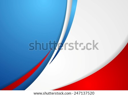 Corporate wavy abstract background. French colors. Vector design - stock vector