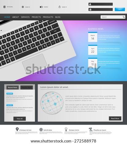 Corporate Website Template Design Vector Eps 10 - stock vector